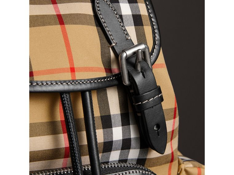 The Crossbody Rucksack in Vintage Check and Leather in Antique Yellow - Women | Burberry United Kingdom - cell image 1