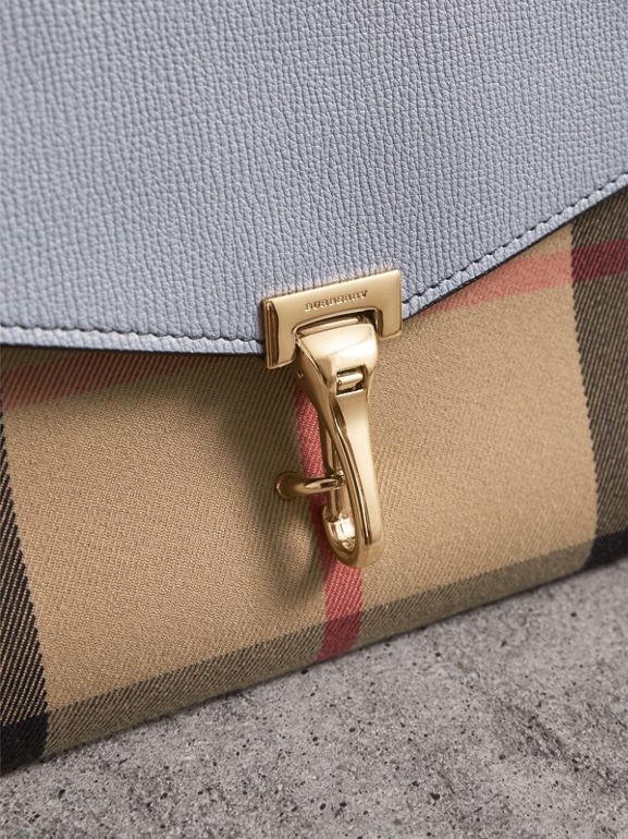 Small Leather and House Check Crossbody Bag in Slate Blue - Women | Burberry - cell image 1