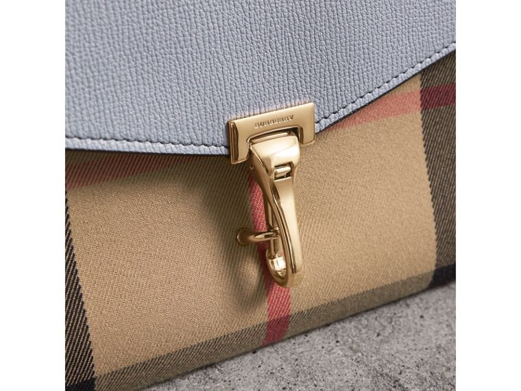 Small Leather and House Check Crossbody Bag in Slate Blue - Women | Burberry United Kingdom - cell image 1