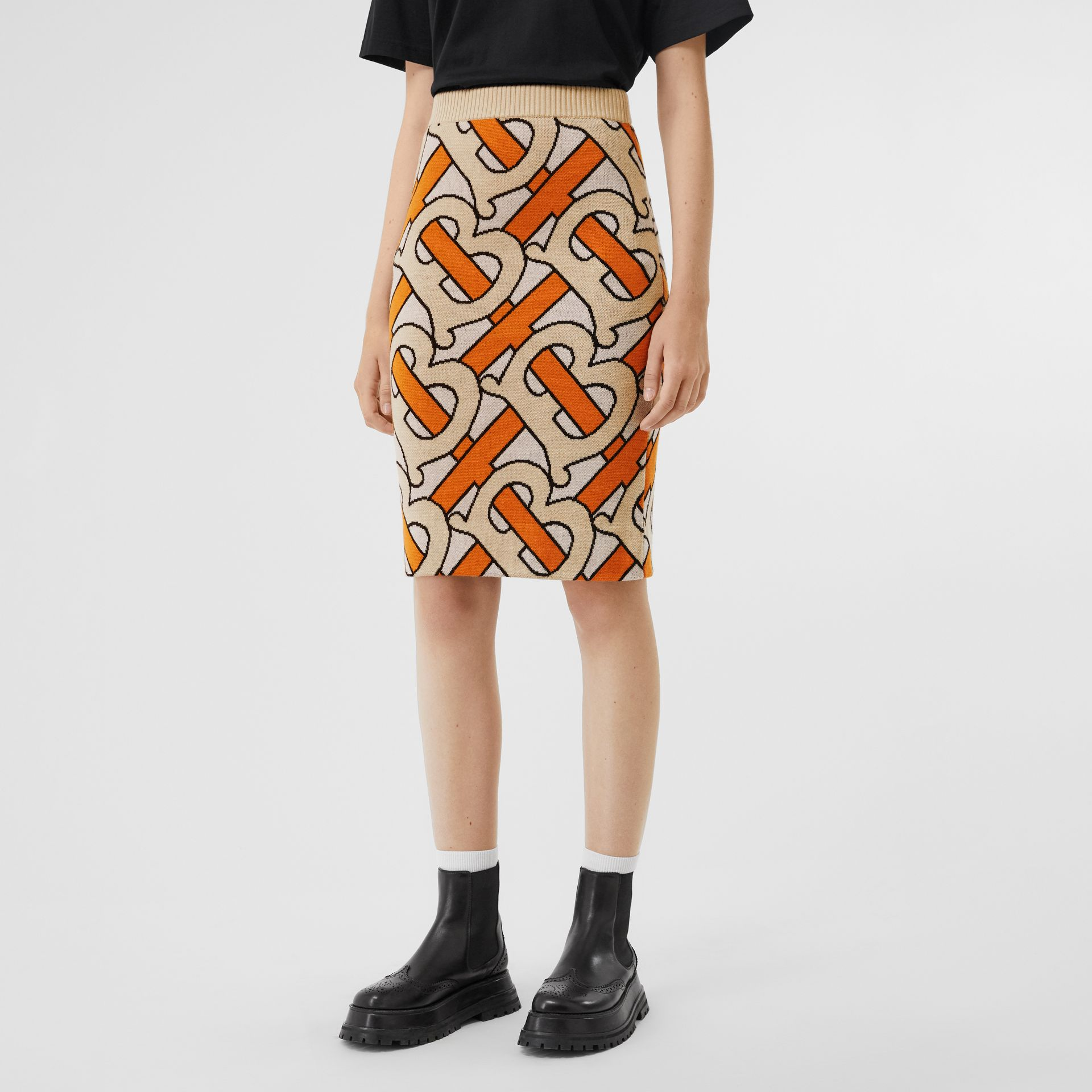 Monogram Intarsia Wool Pencil Skirt in Bright Orange - Women | Burberry - gallery image 5