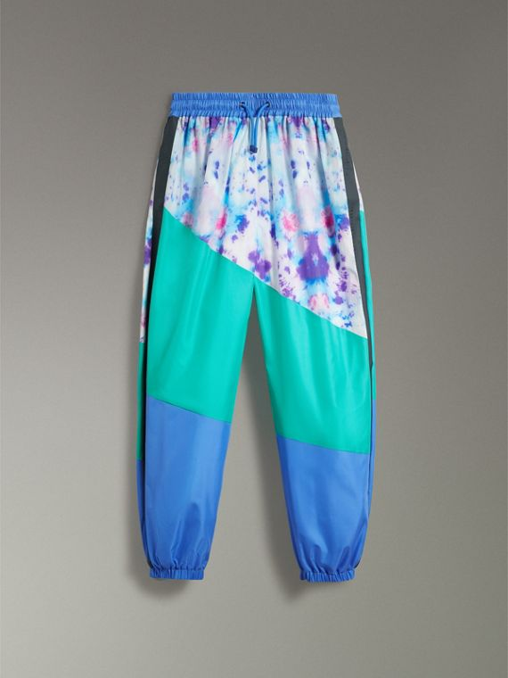 Tie-dye Silk Shell Suit Pants in Turquoise | Burberry - cell image 3
