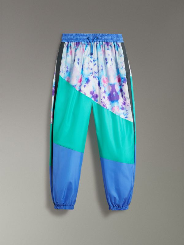 Tie-dye Silk Shell Suit Pants in Turquoise | Burberry Singapore - cell image 3