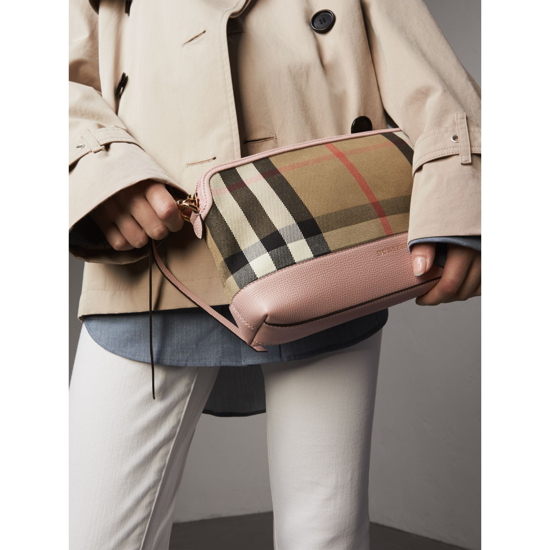 House Check and Leather Clutch Bag in Pale Orchid - Women | Burberry United Kingdom - gallery image 10