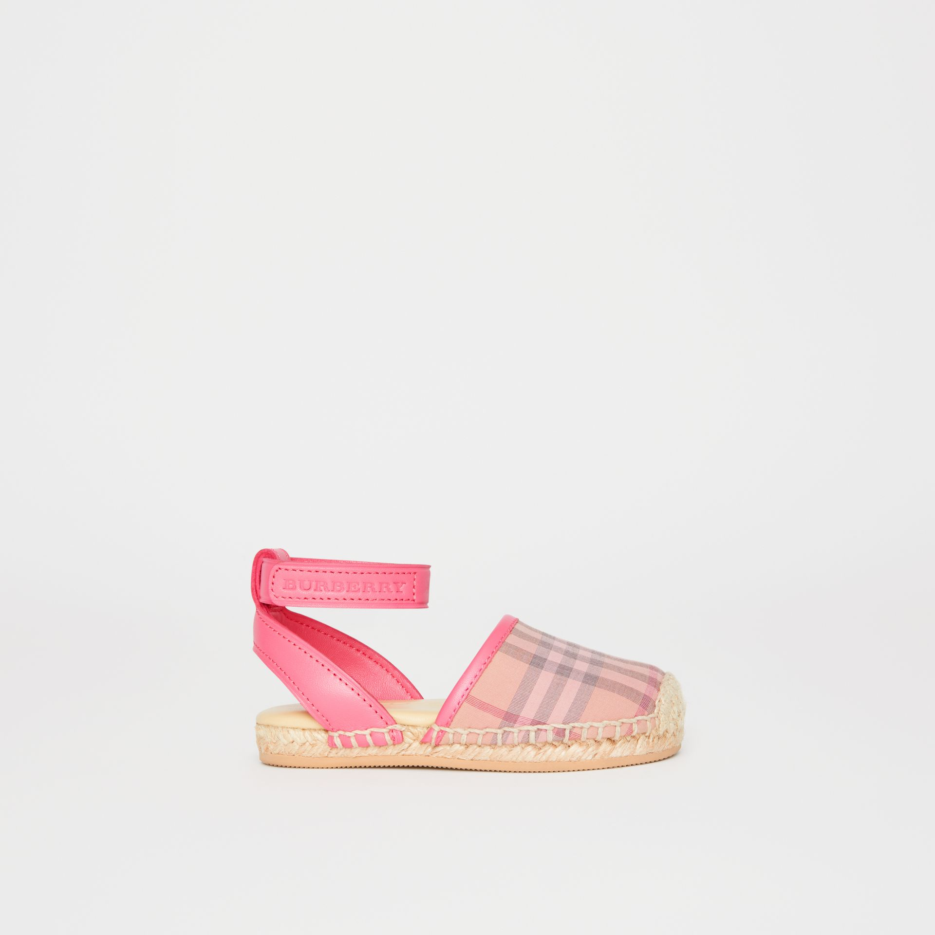 Check and Leather Espadrille Sandals in Bright Rose - Children | Burberry - gallery image 3