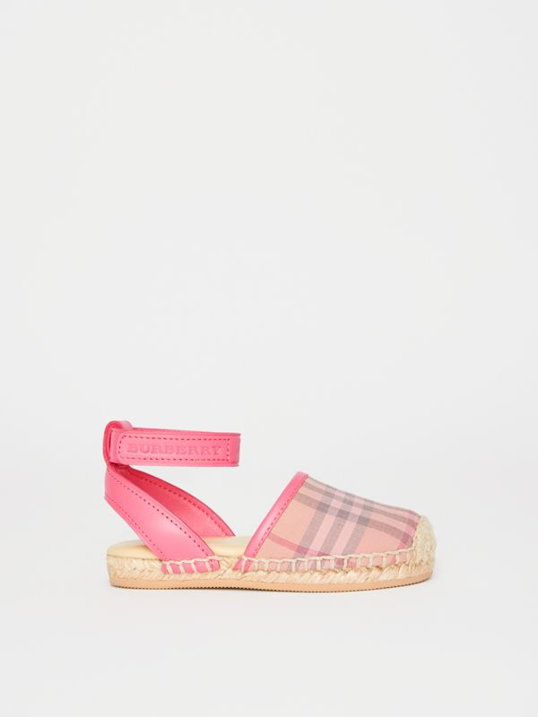Check and Leather Espadrille Sandals in Bright Rose | Burberry - cell image 3
