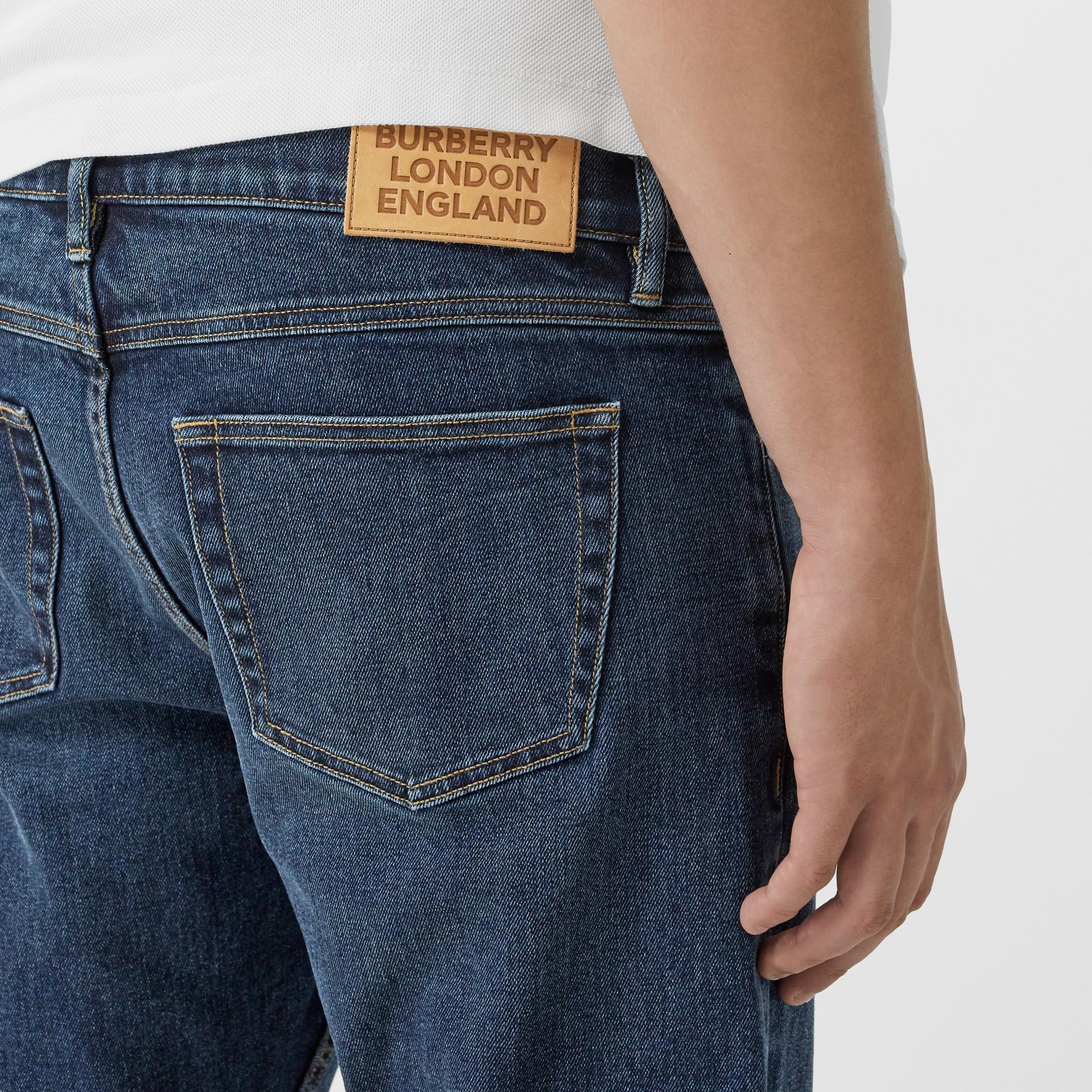 Slim Fit Washed Denim Jeans in Dark Indigo - Men   Burberry - gallery image 1