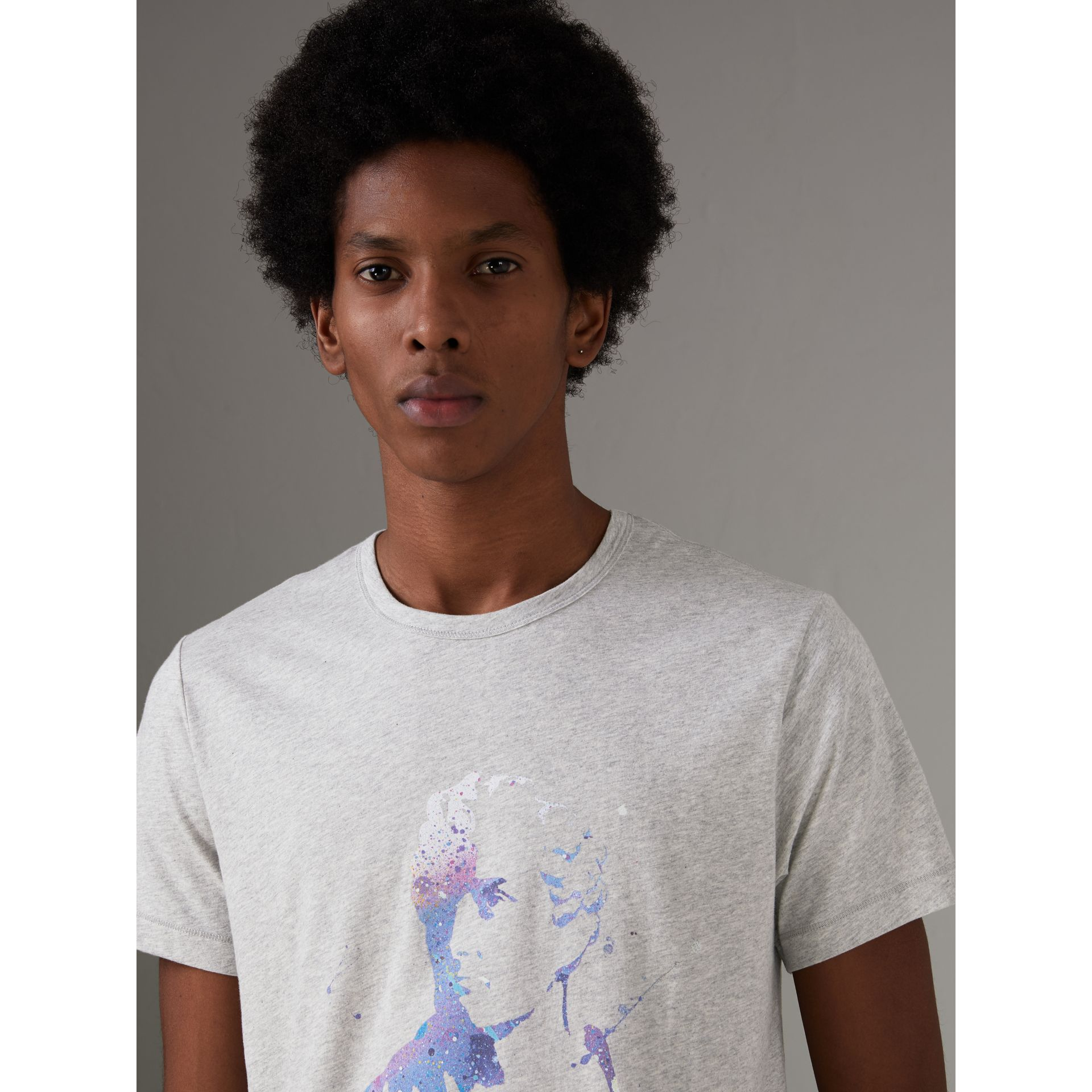 Bust Print Mélange Cotton T-shirt in Pale Grey Melange - Men | Burberry United Kingdom - gallery image 1