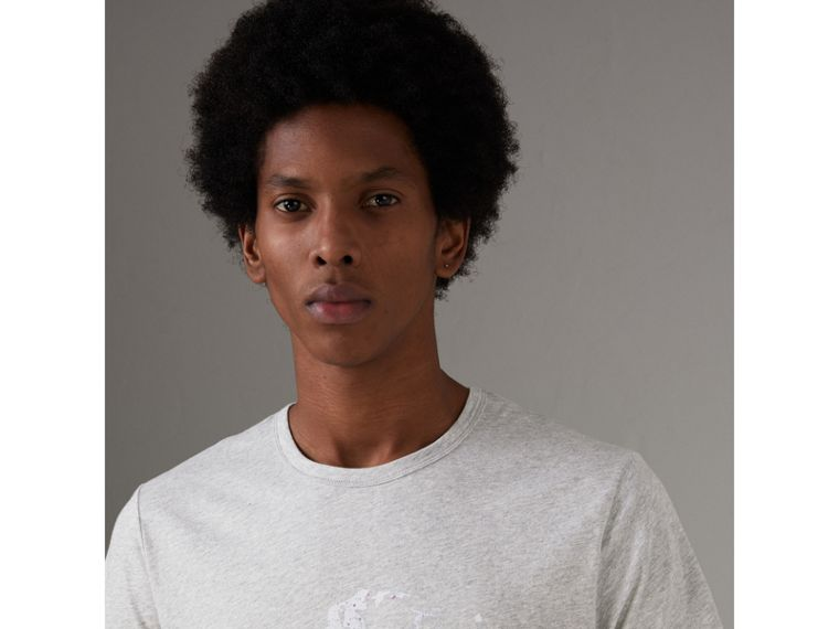 Bust Print Mélange Cotton T-shirt in Pale Grey Melange - Men | Burberry United Kingdom - cell image 1