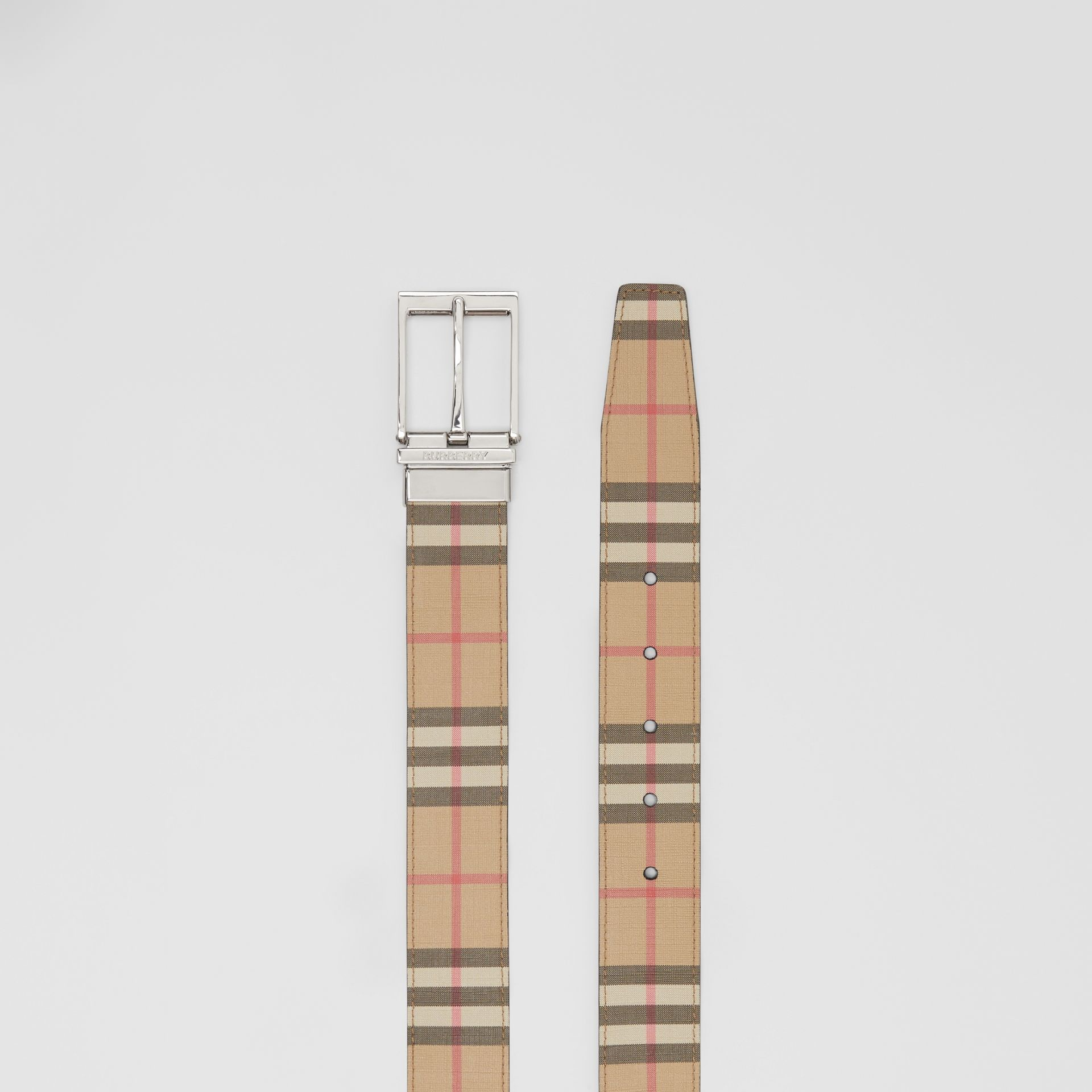 Reversible Vintage Check E-canvas and Leather Belt in Archive Beige/black - Men | Burberry - gallery image 5