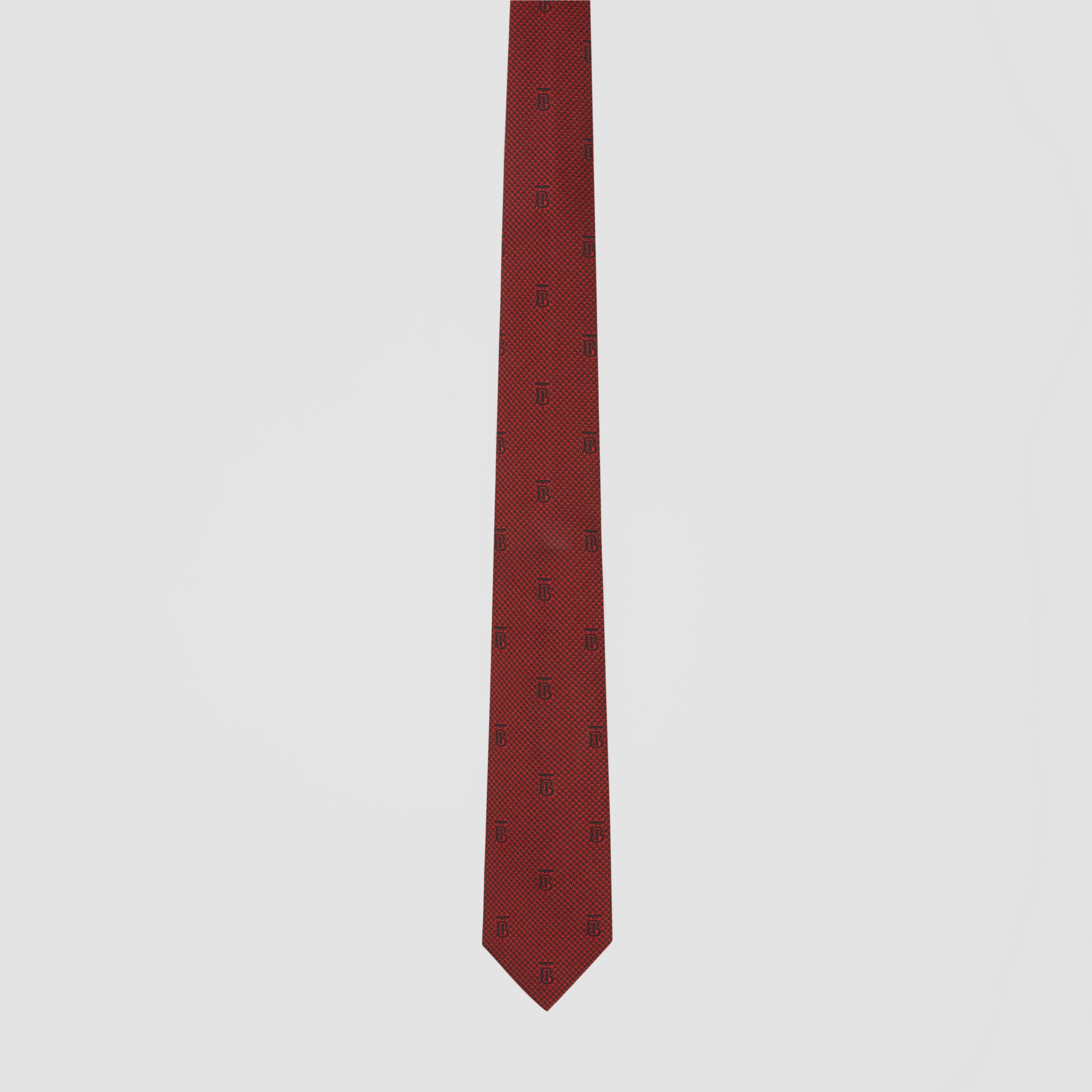 Classic Cut Puppytooth Check Silk Tie in Parade Red - Men | Burberry - 4