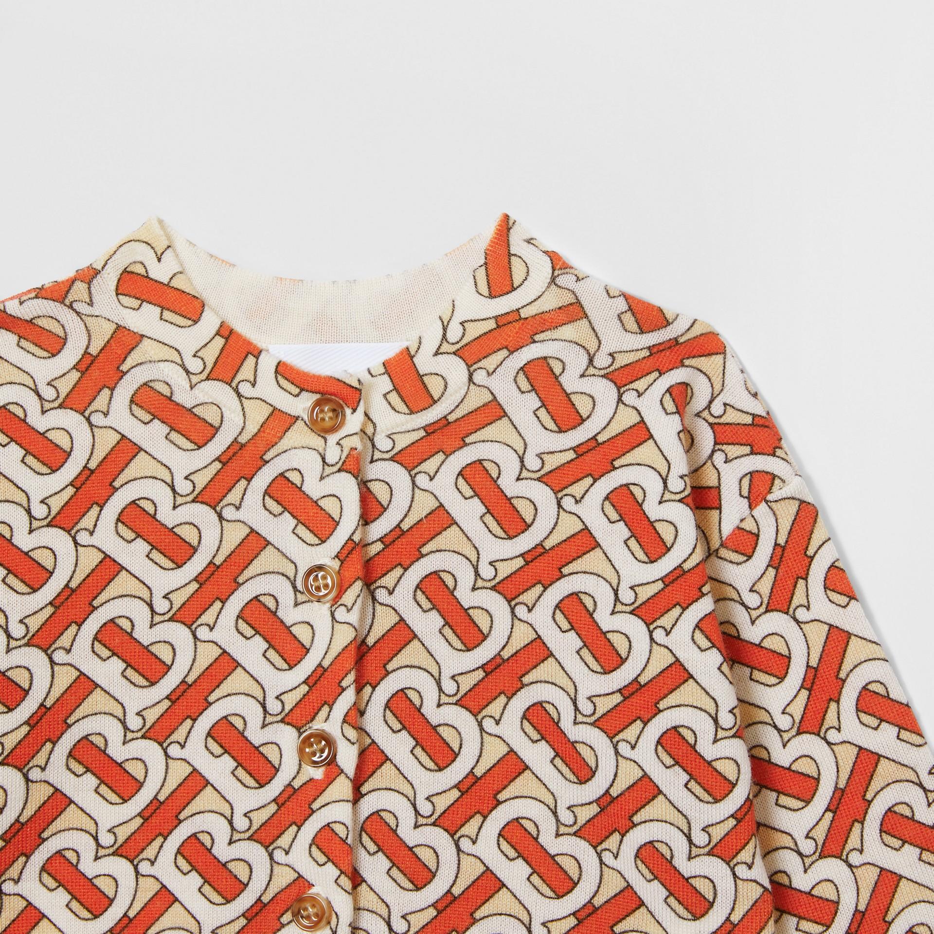 Monogram Print Merino Wool Two-piece Baby Gift Set in Vermilion - Children | Burberry - gallery image 4