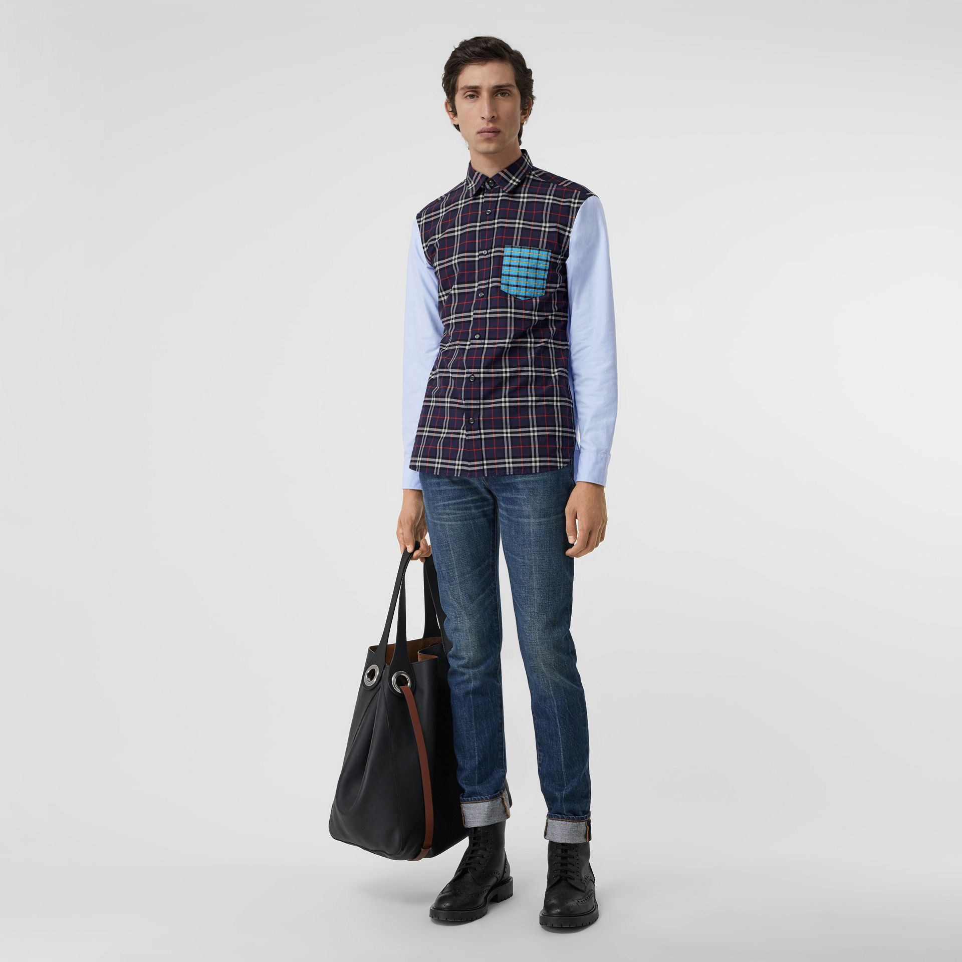 Contrast Check Panelled Cotton Shirt in Navy Blue - Men | Burberry United States - gallery image 0