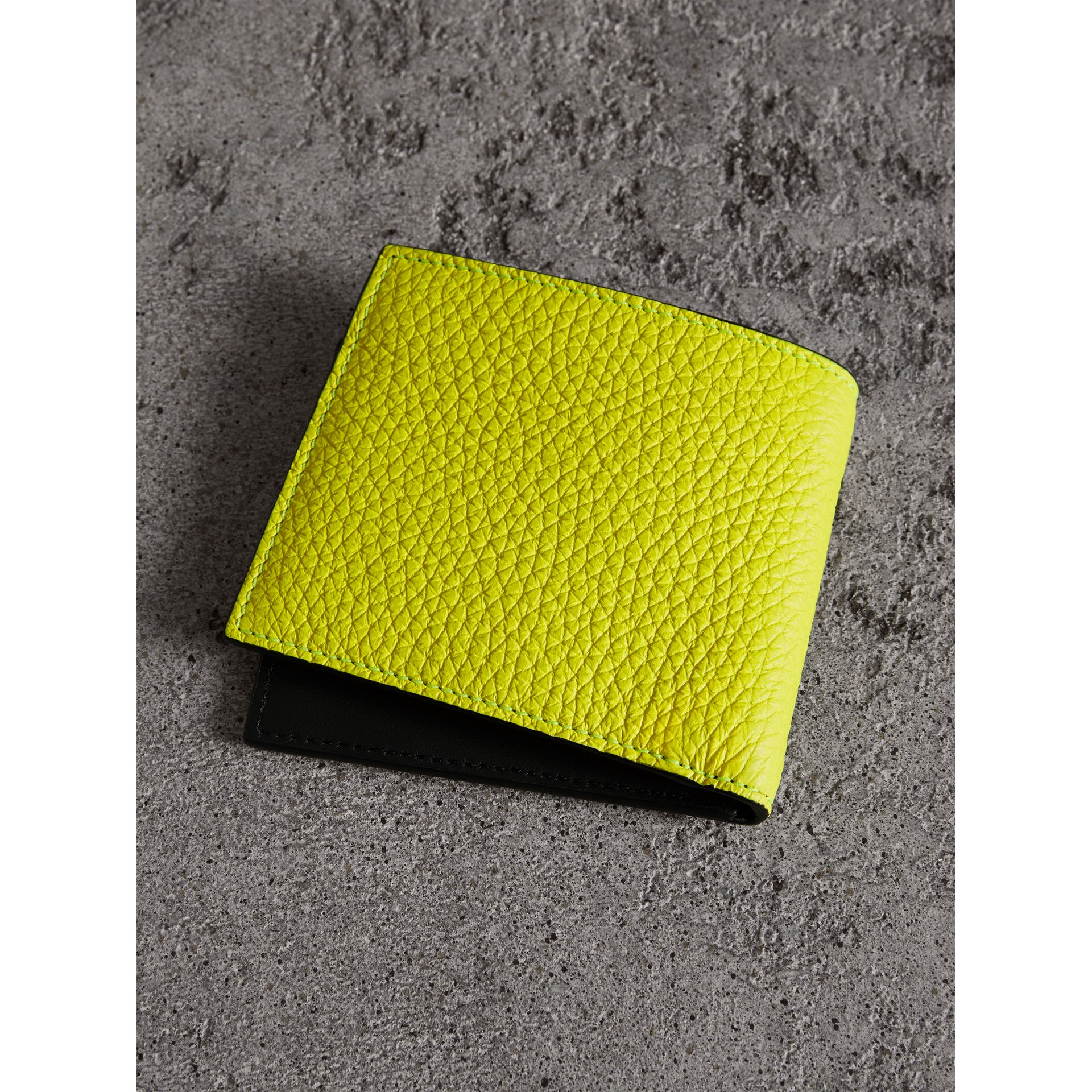 Embossed Leather International Bifold Wallet in Neon Yellow - Men | Burberry - gallery image 3