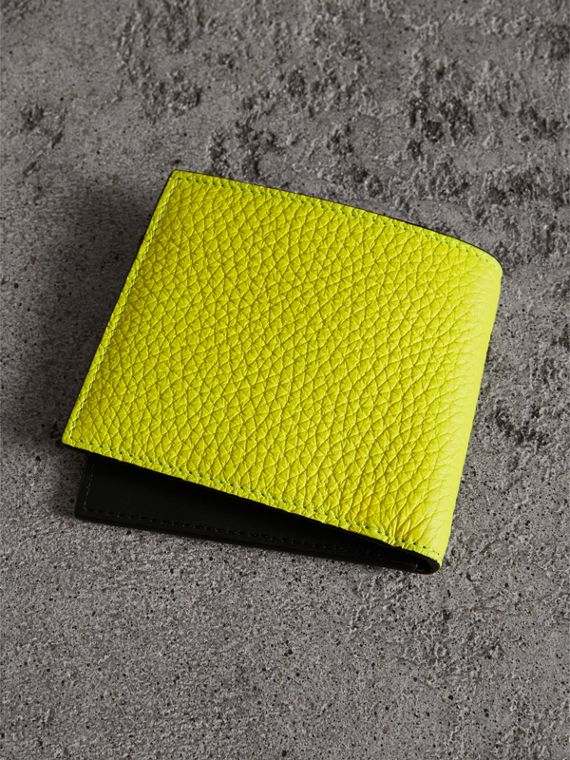 Embossed Leather International Bifold Wallet in Neon Yellow - Men | Burberry - cell image 2