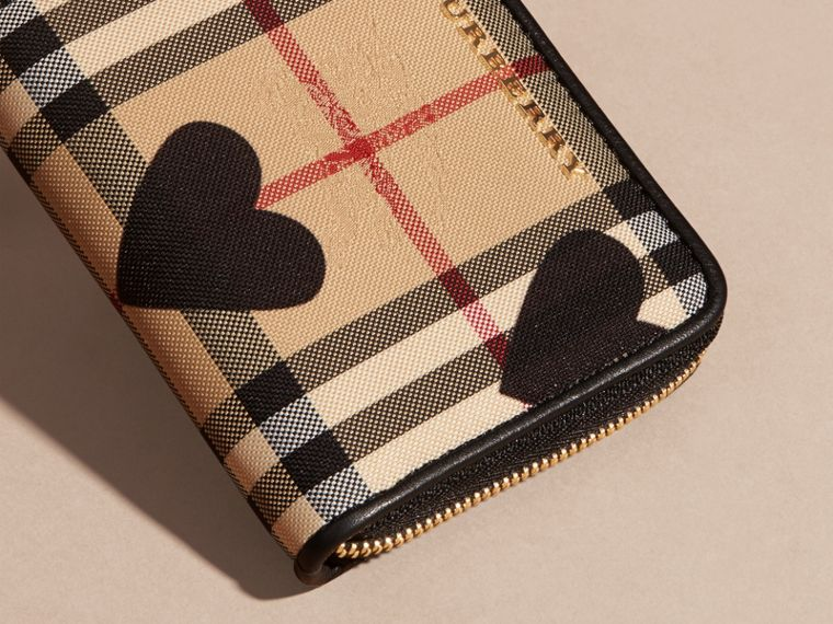 Black Heart Print Horseferry Check Ziparound Wallet - cell image 1