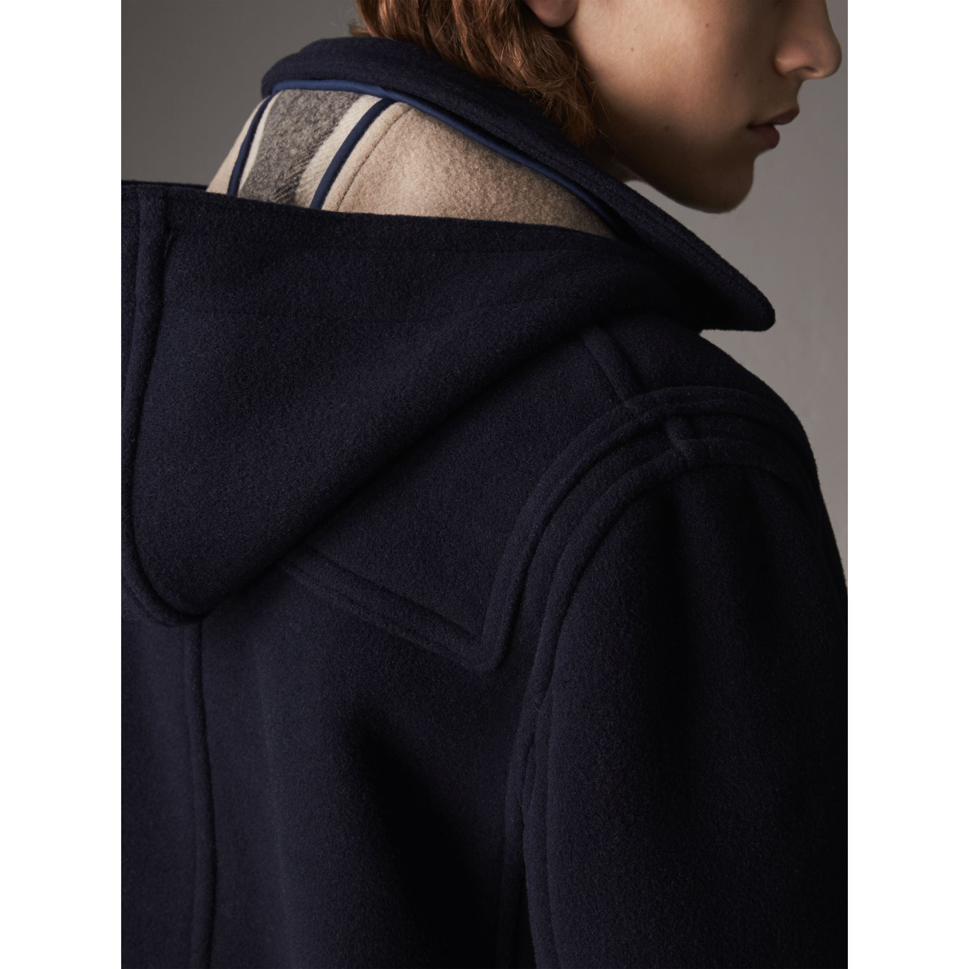 Wool Duffle Jacket with Detachable Hood in Navy - Men | Burberry - gallery image 5