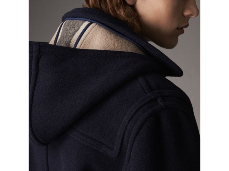 Wool Duffle Jacket with Detachable Hood in Navy - Men | Burberry - cell image 4