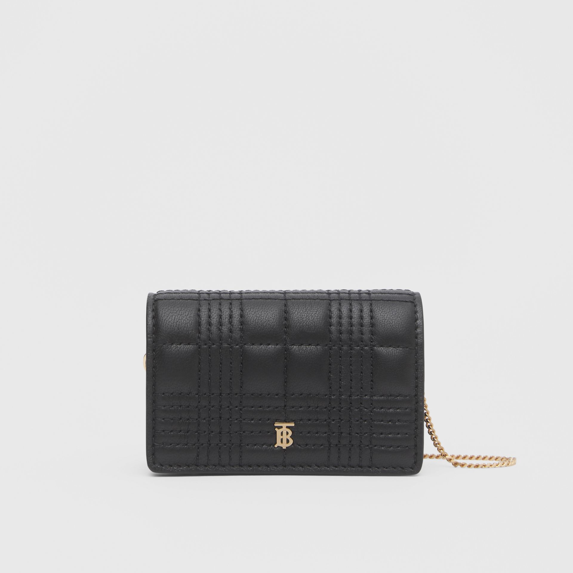 Quilted Lambskin Card Case with Detachable Strap in Black | Burberry Singapore - gallery image 0