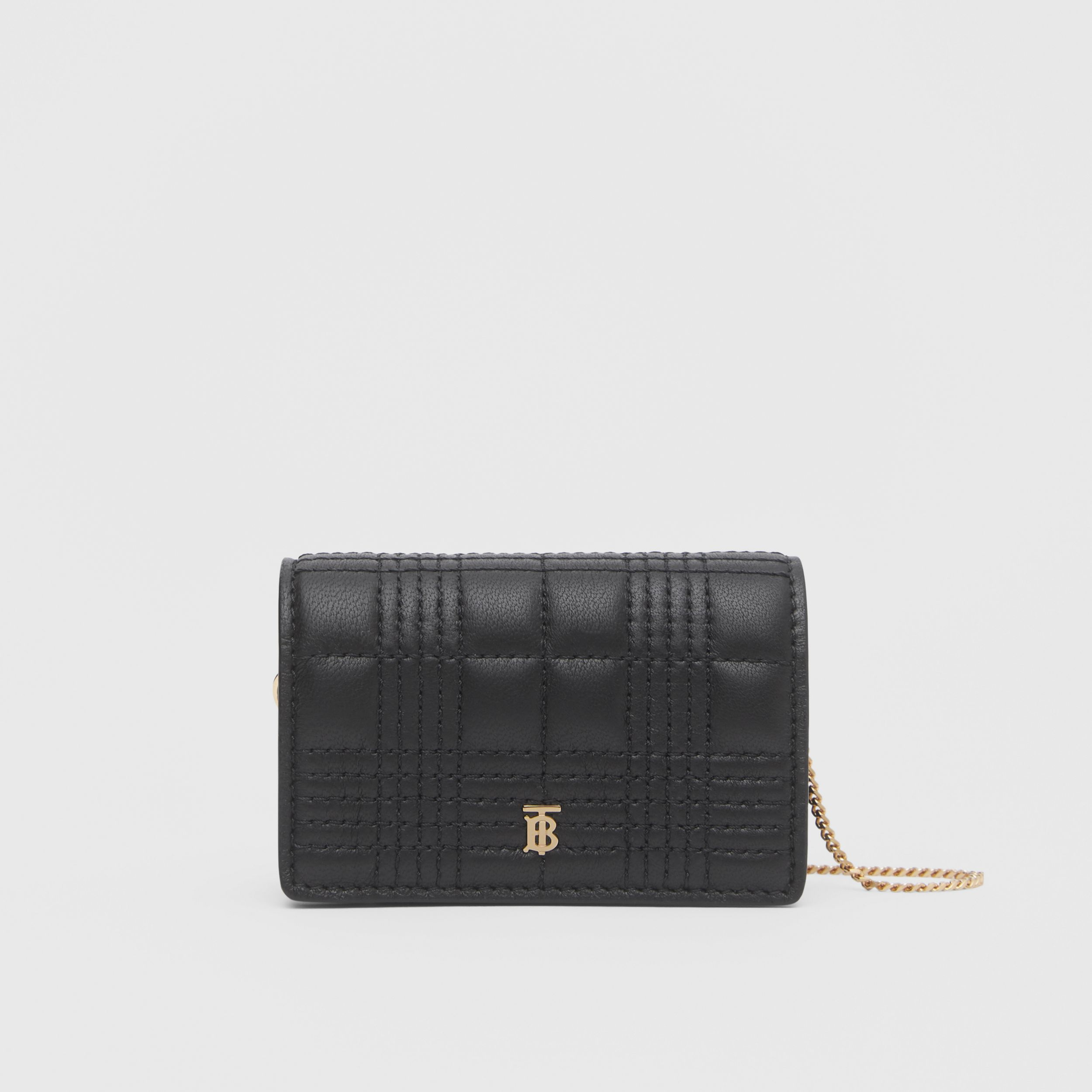 Quilted Lambskin Card Case with Detachable Strap in Black | Burberry - 1
