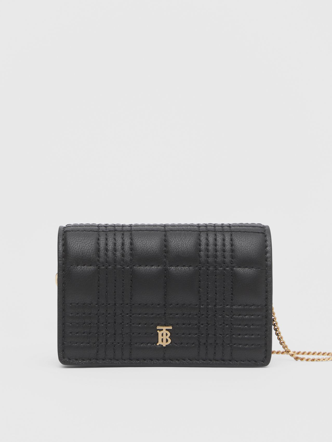 Quilted Lambskin Card Case with Detachable Strap in Black
