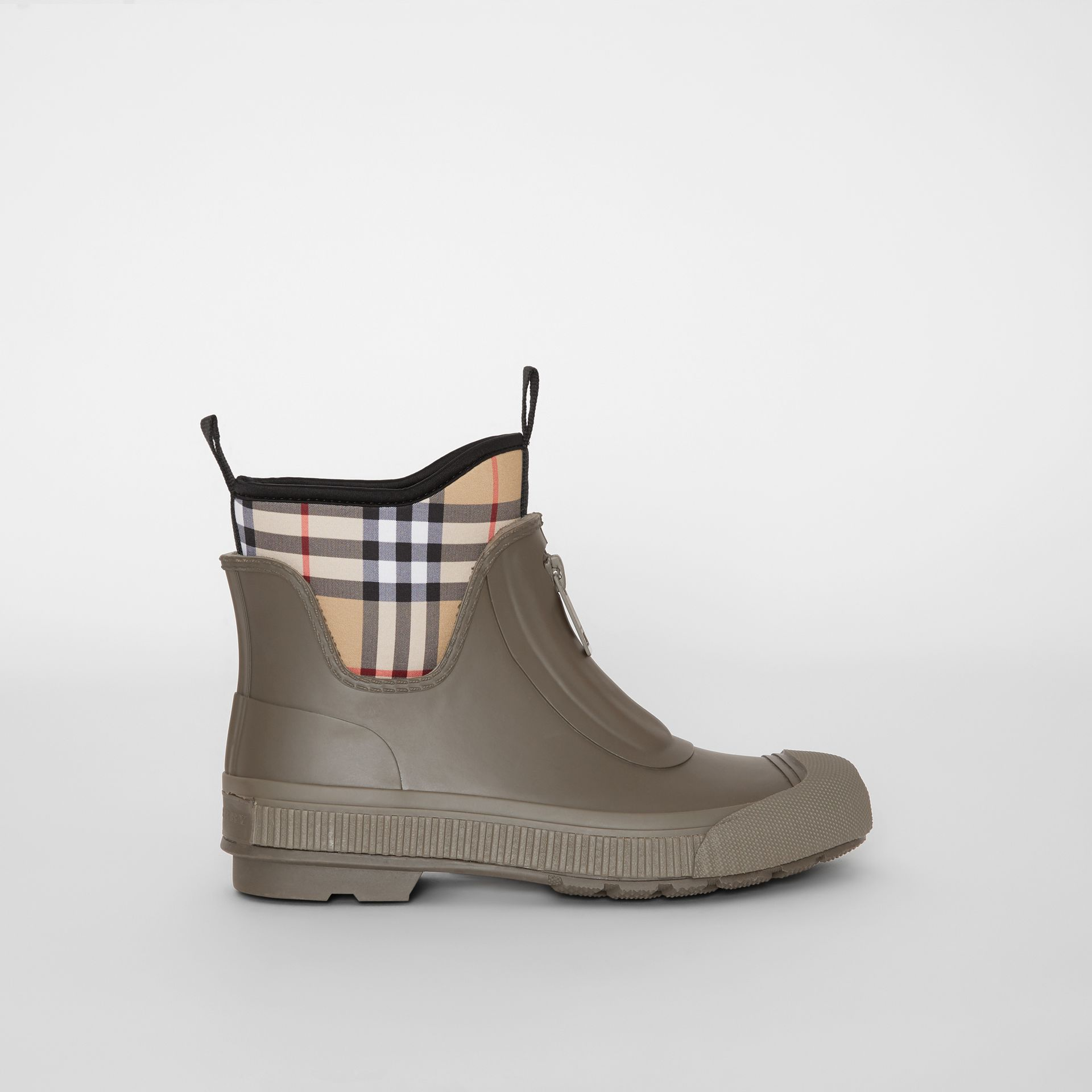 Vintage Check Neoprene and Rubber Rain Boots in Military Green - Women | Burberry - gallery image 0