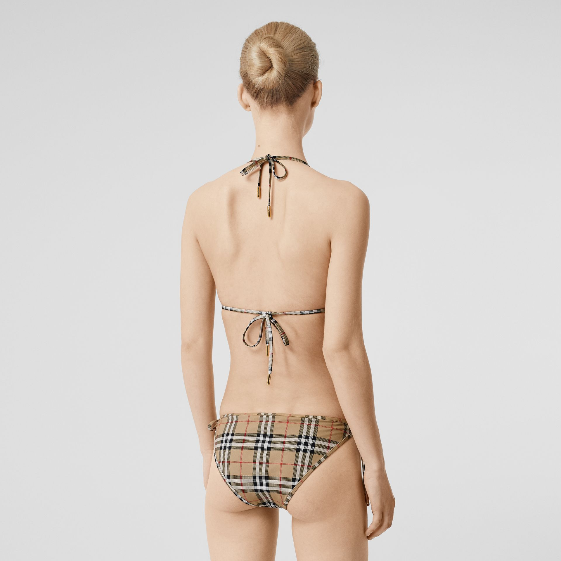 Vintage Check Triangle Bikini in Archive Beige | Burberry United Kingdom - gallery image 1