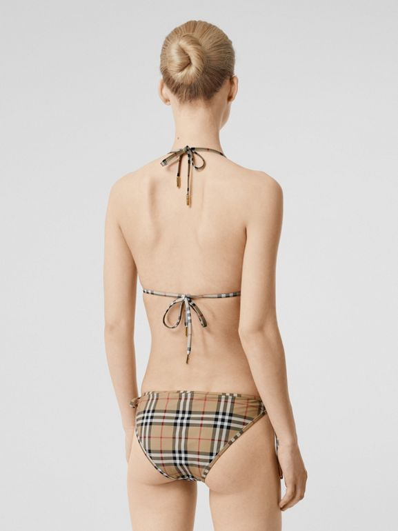 Vintage Check Triangle Bikini in Archive Beige | Burberry United Kingdom - cell image 1