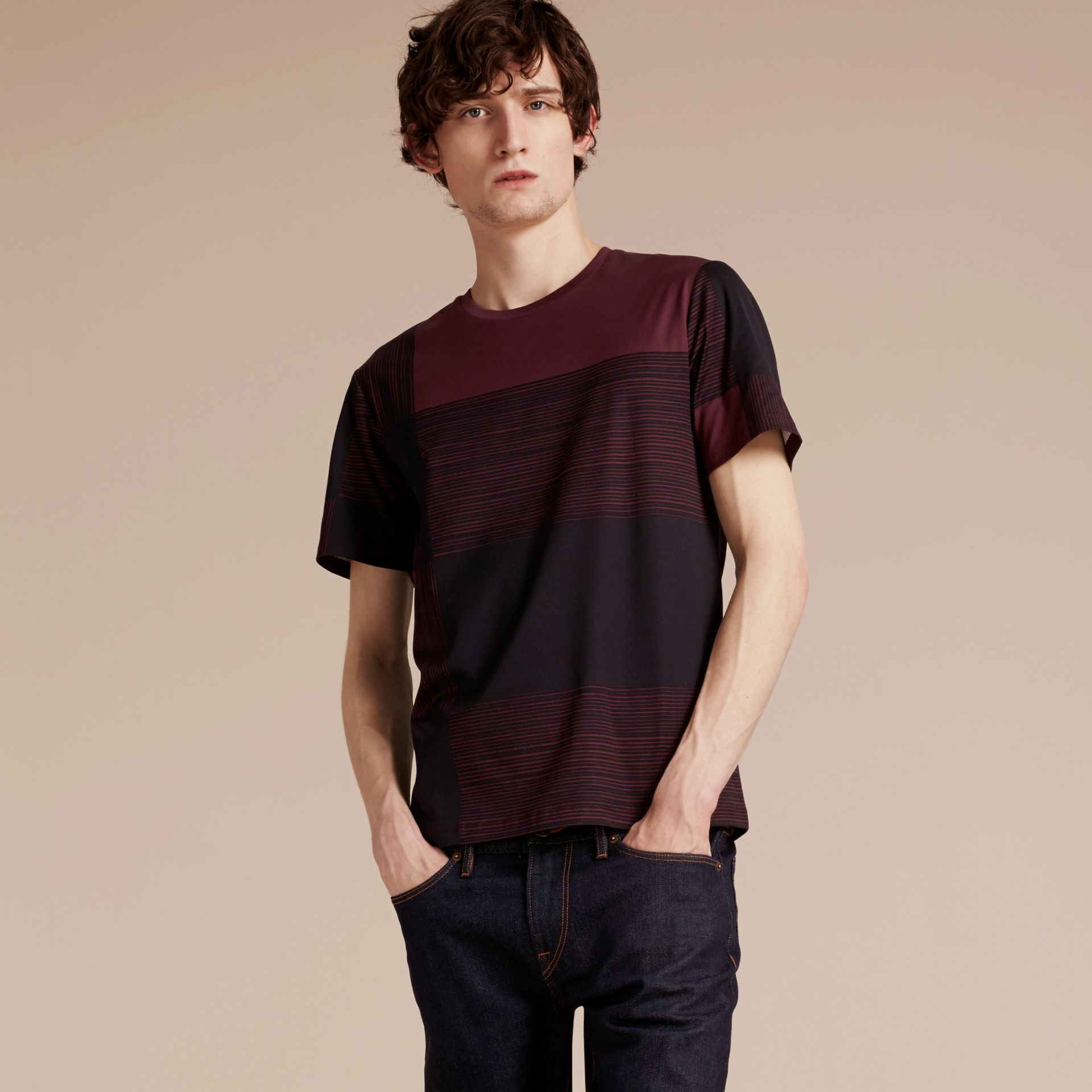 Burgundy Check Print Cotton T-shirt Burgundy - gallery image 6