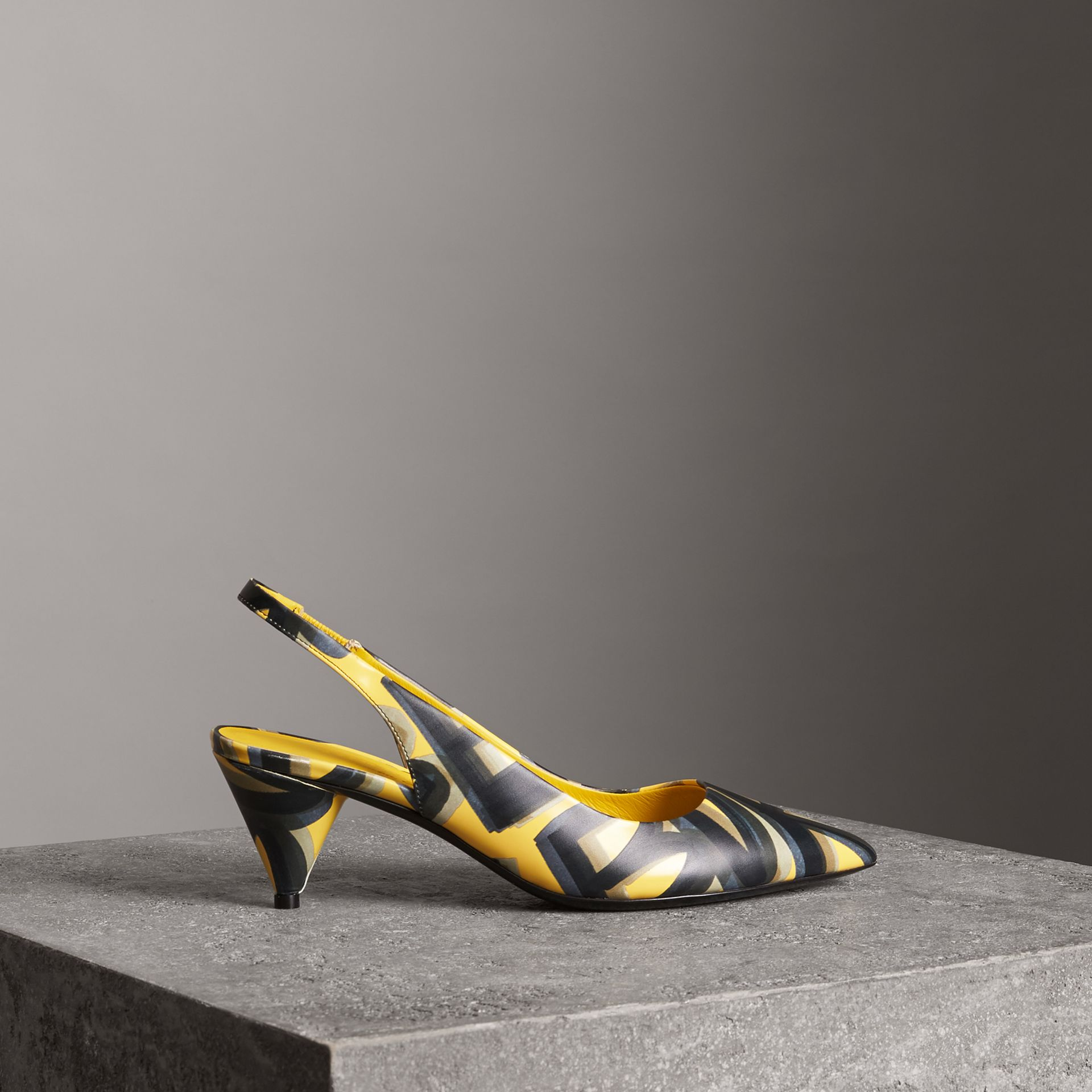 Graffiti Print Leather Slingback Pumps in Vibrant Yellow - Women | Burberry Singapore - gallery image 0