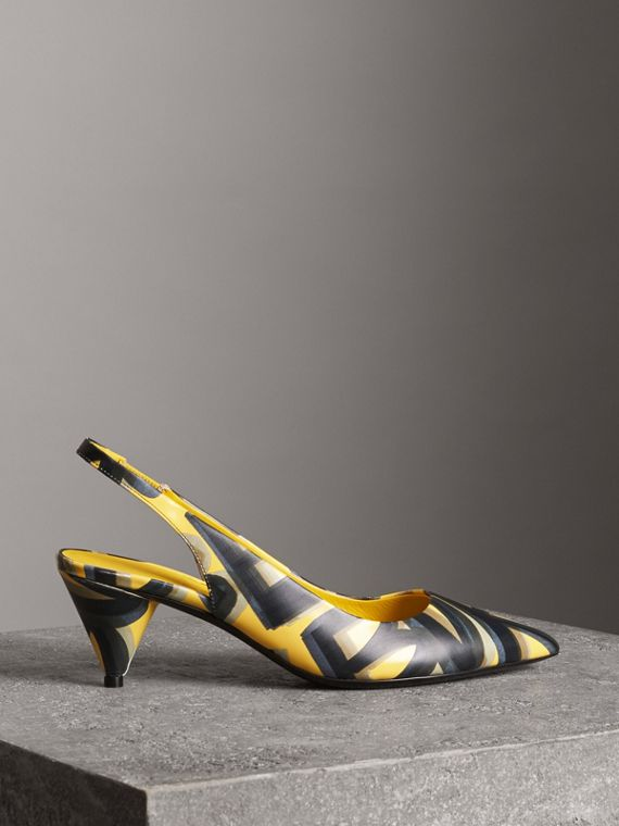 Graffiti Print Leather Slingback Pumps in Vibrant Yellow