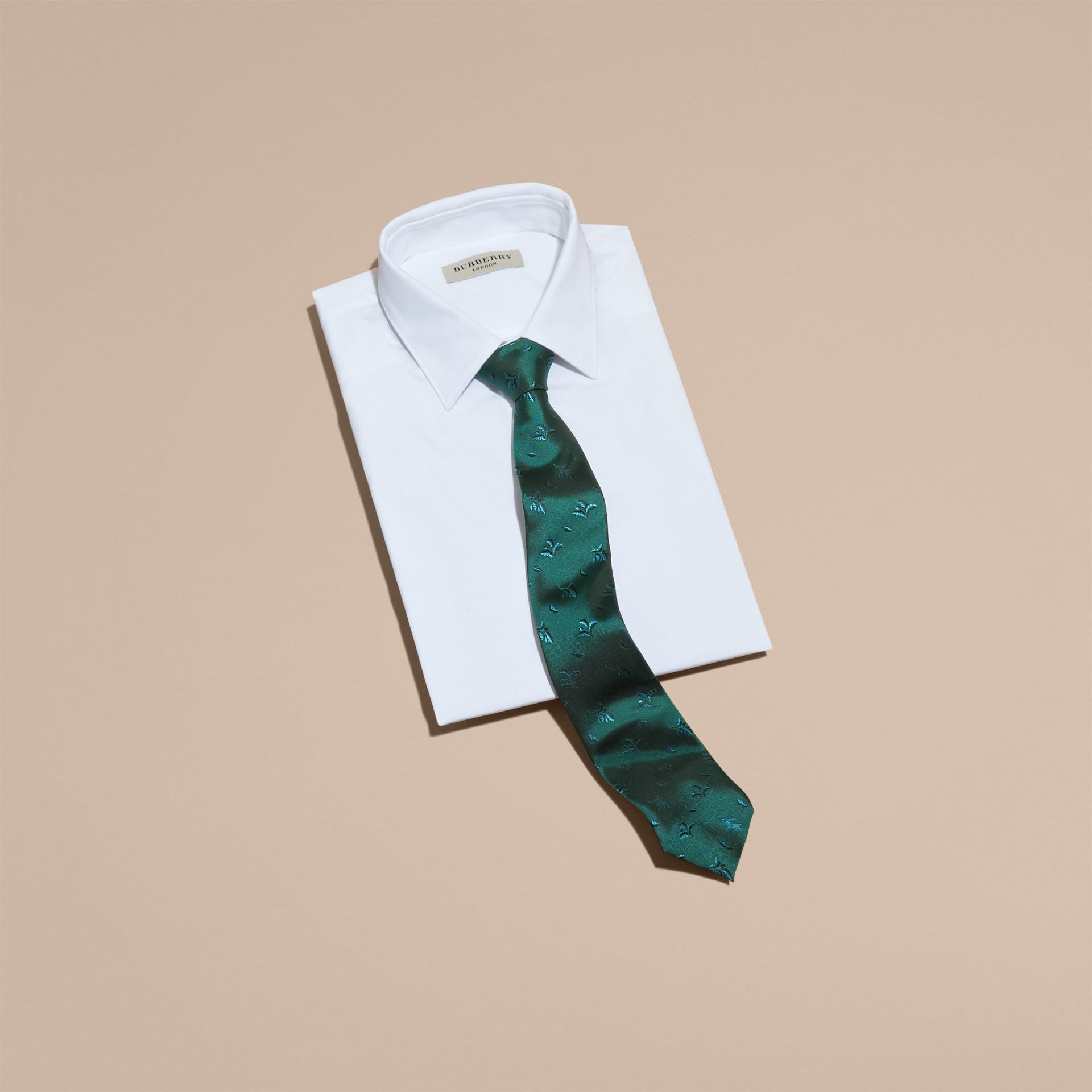 Modern Cut Leaf Jacquard Silk Tie Teal - gallery image 3