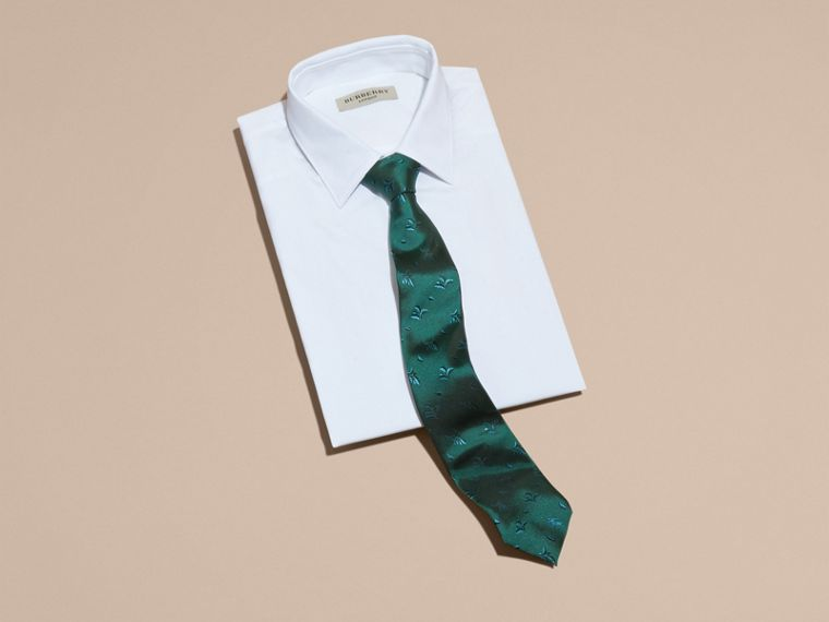 Modern Cut Leaf Jacquard Silk Tie in Teal - cell image 2