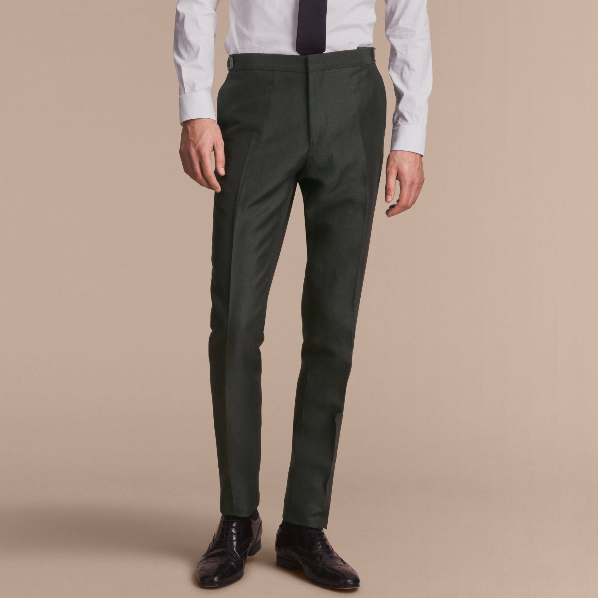 Slim Fit Travel Tailoring Linen Blend Suit in Slate Green - Men | Burberry - gallery image 9