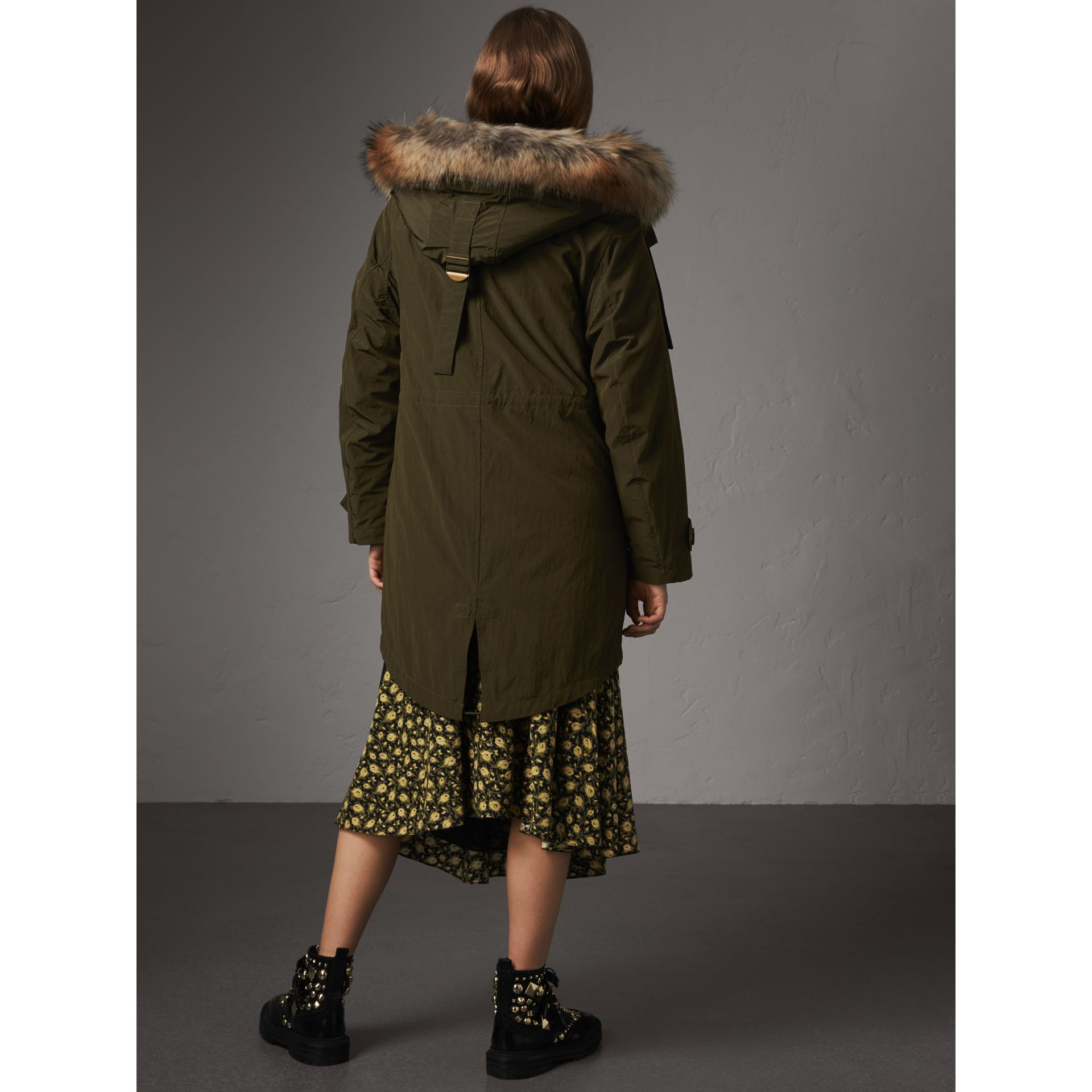 Raccoon Fur and Shearling Trim Parka with Warmer in Dark Olive - Women | Burberry - gallery image 2