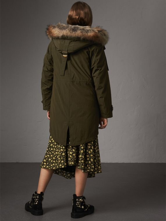 Raccoon Fur and Shearling Trim Parka with Warmer in Dark Olive - Women | Burberry - cell image 2
