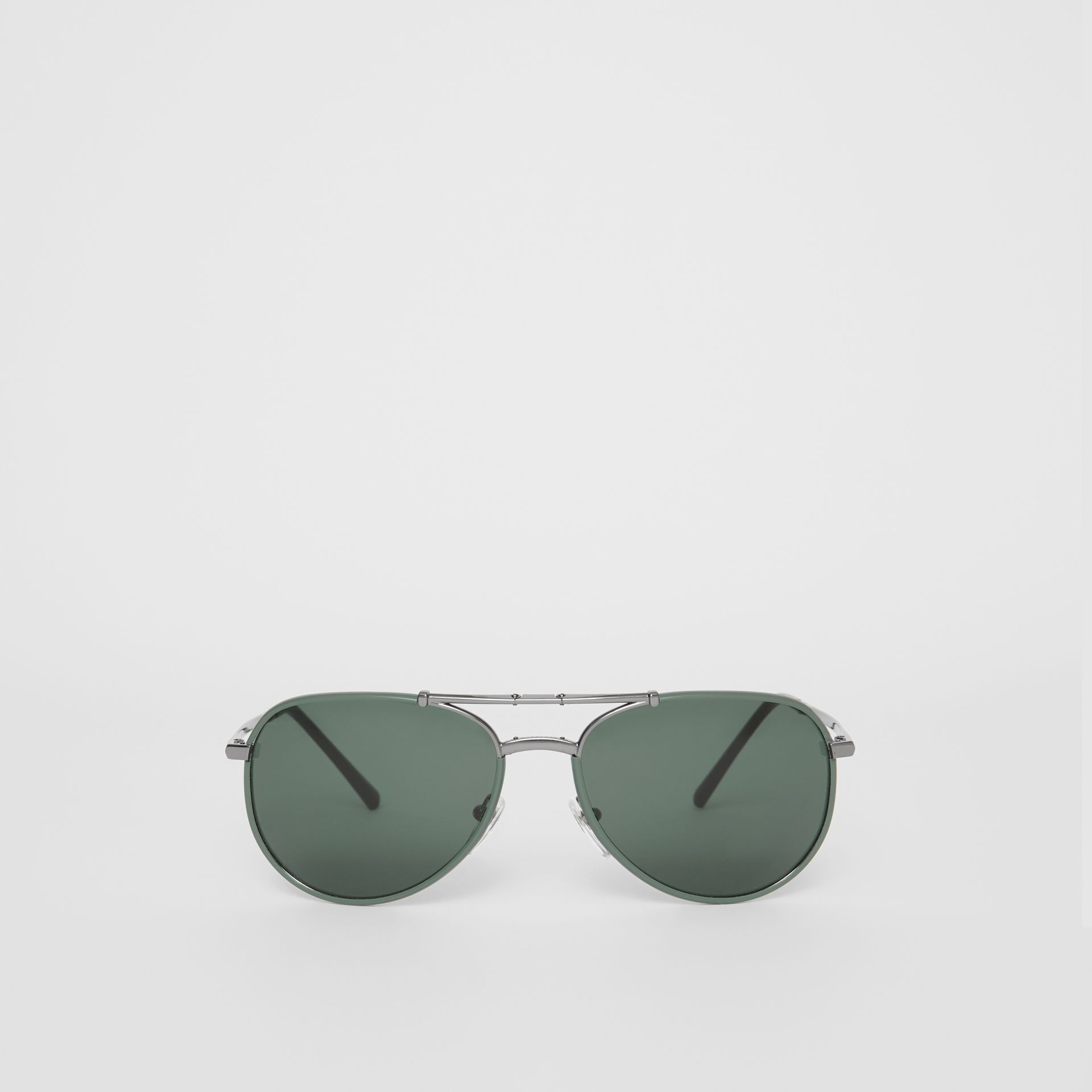 Folding Pilot Sunglasses in Dark Olive - Men | Burberry Hong Kong - gallery image 0