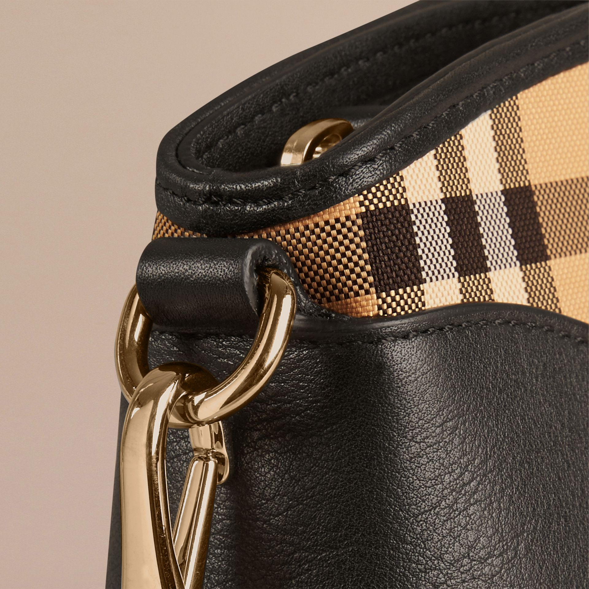 Horseferry Check and Leather Clutch Bag in Honey/black - gallery image 7