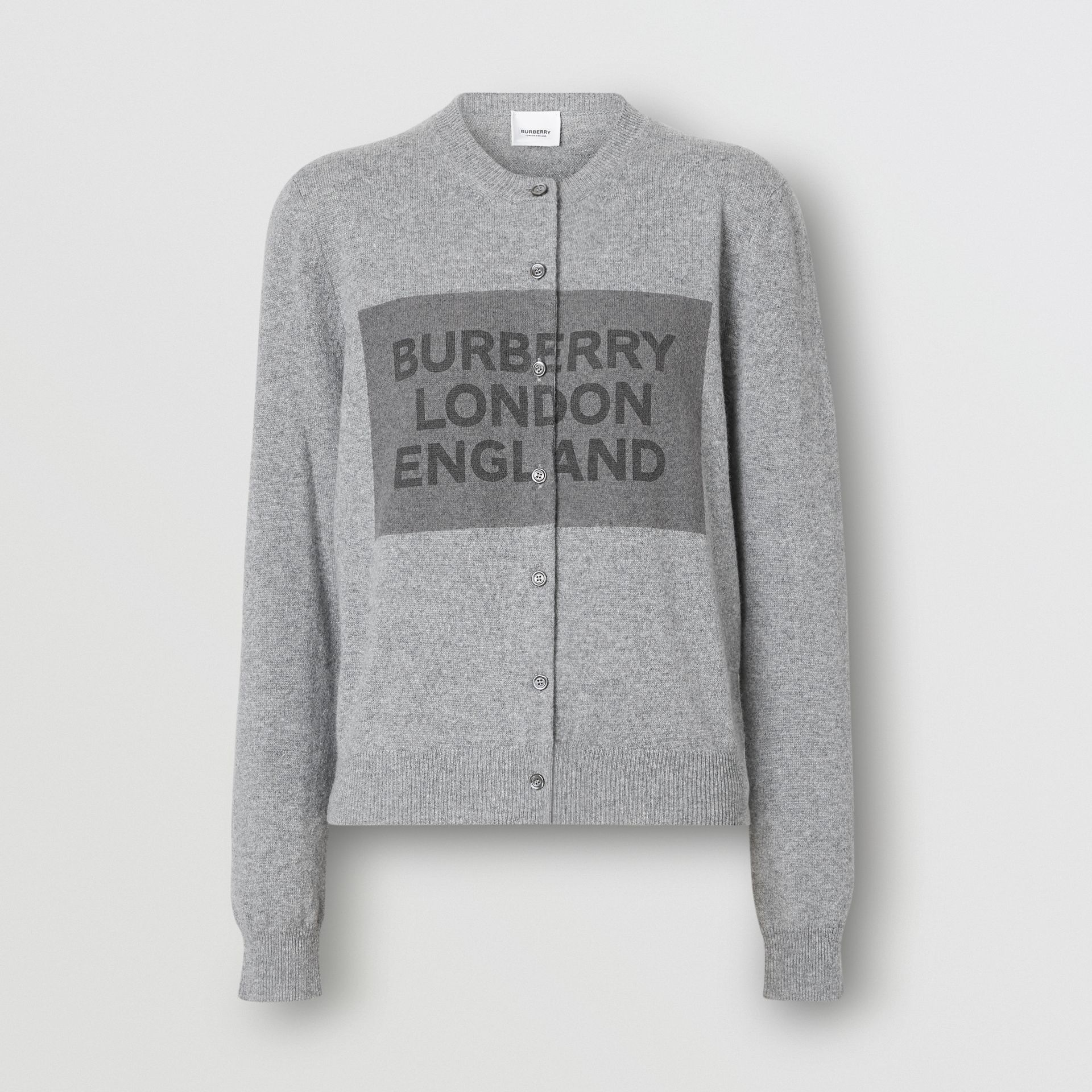 Logo Detail Cashmere Cardigan in Grey - Women | Burberry - gallery image 3