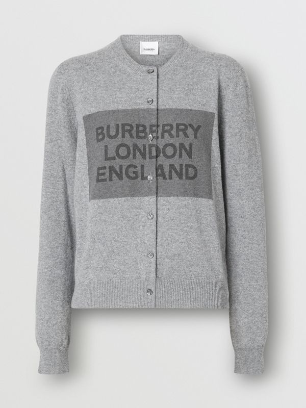 Logo Detail Cashmere Cardigan in Grey - Women | Burberry - cell image 3