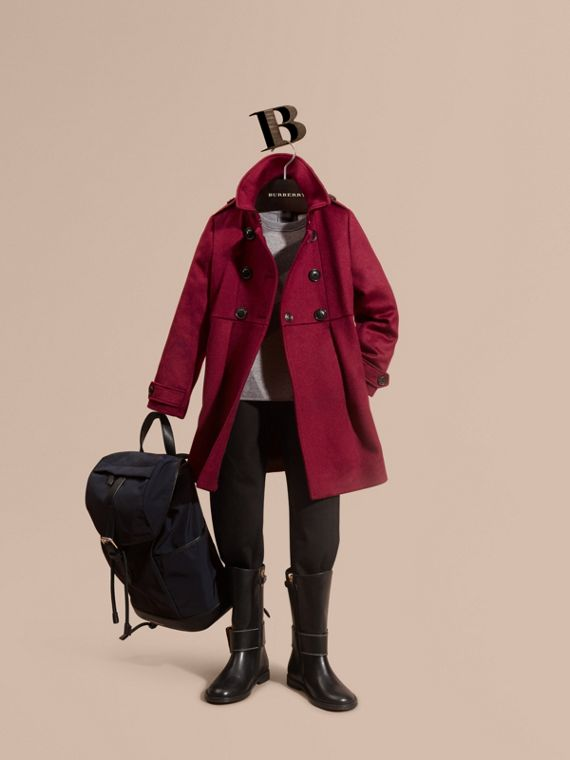 Cashmere Military Coat in Cherry Pink