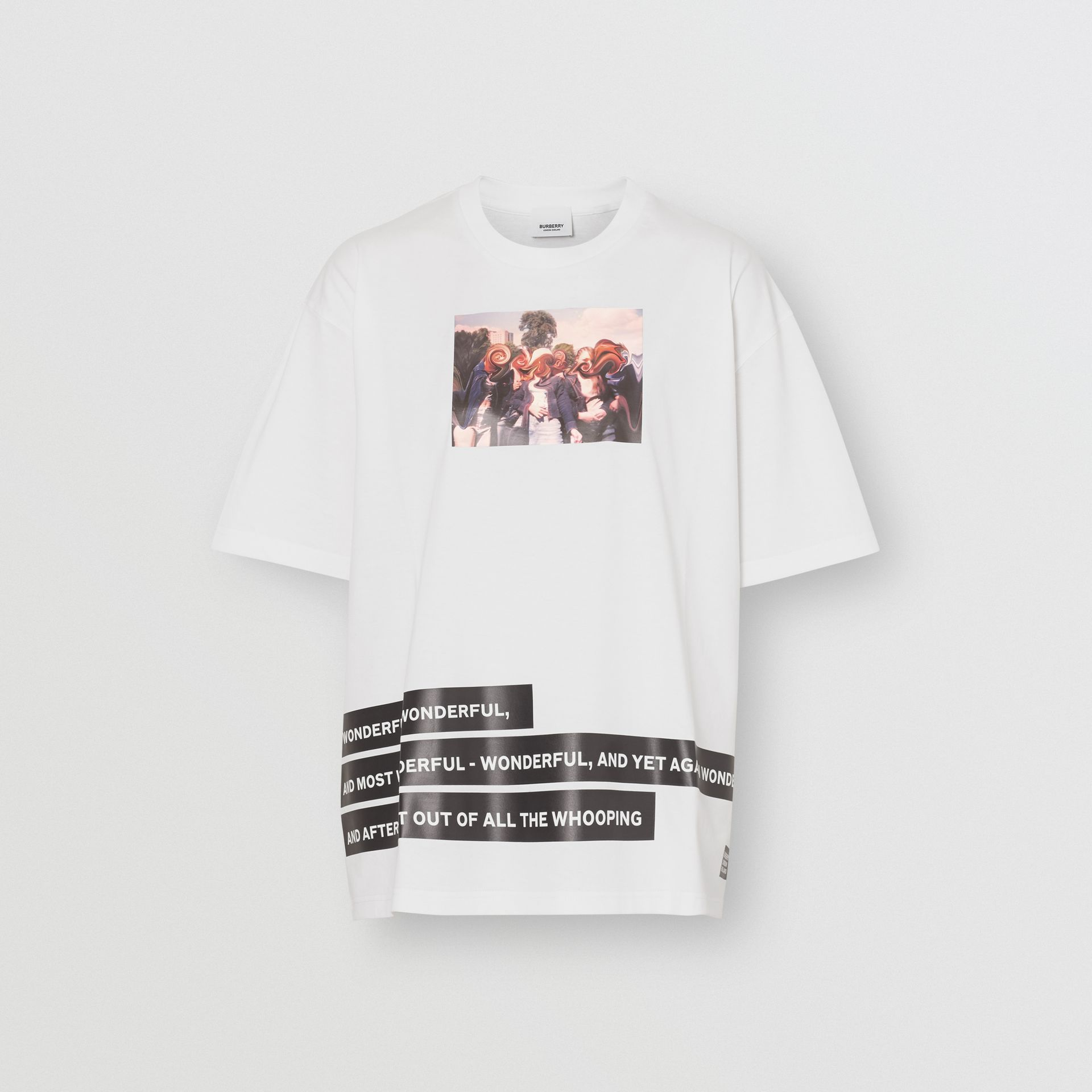 Montage Print Cotton Oversized T-shirt in White - Women | Burberry United Kingdom - gallery image 3