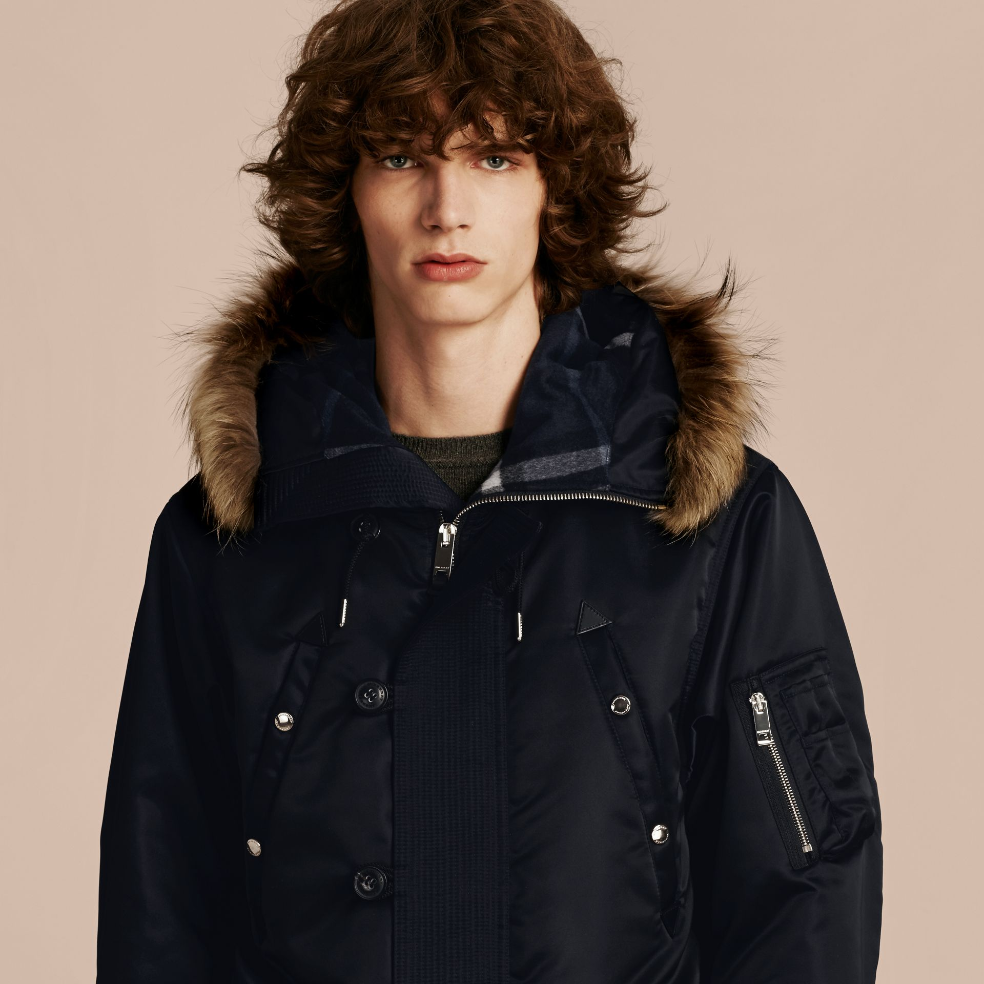 Navy Hooded Parka with Detachable Raccoon Trim - gallery image 5
