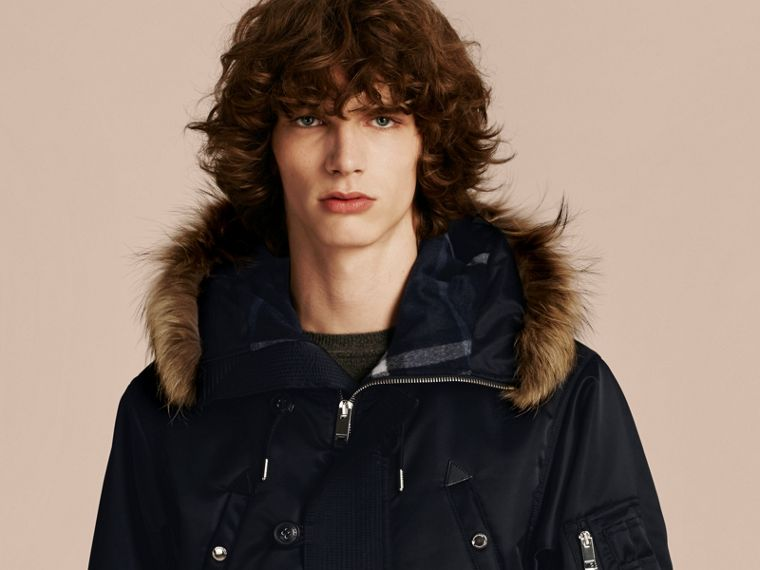 Navy Hooded Parka with Detachable Raccoon Trim - cell image 4