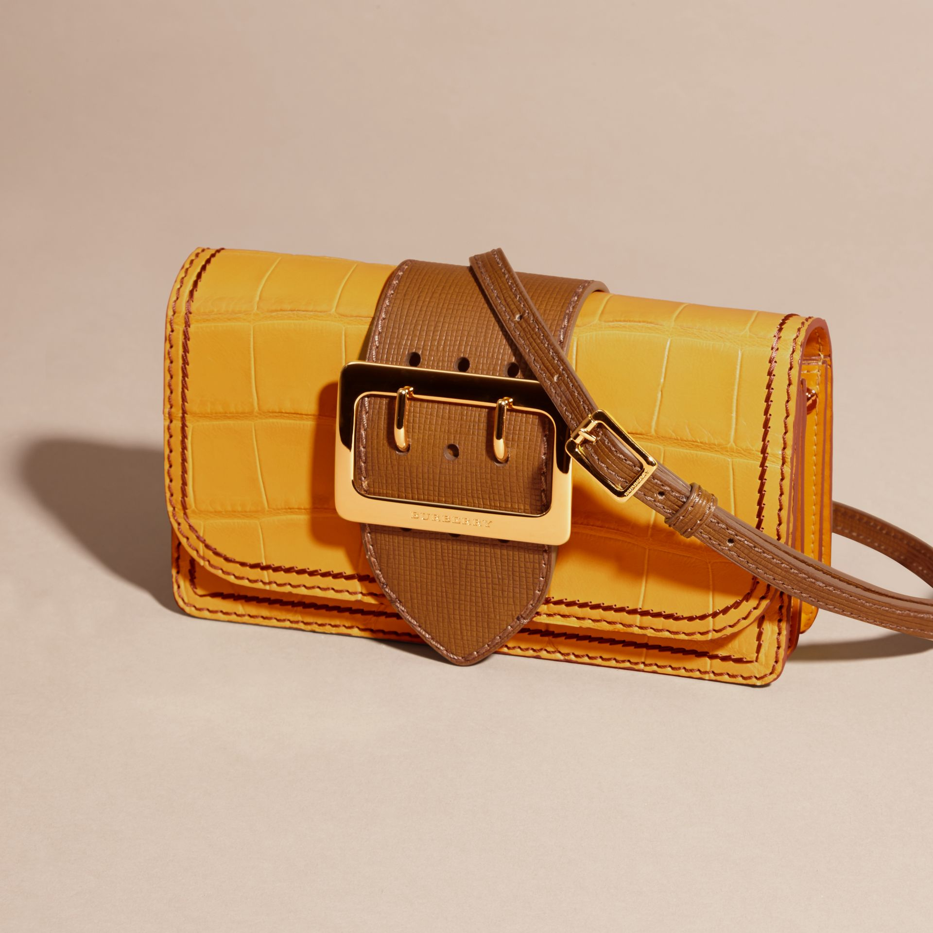 The Small Buckle Bag in Alligator and Leather Citrus Yellow / Tan - gallery image 8