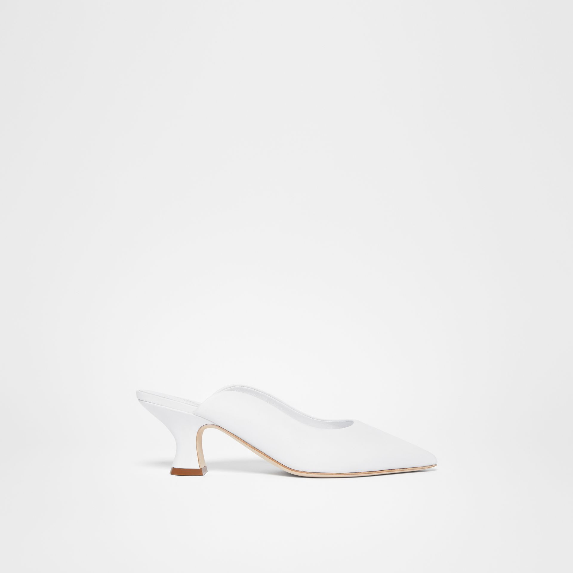 Leather Point-toe Mules in White - Women | Burberry - gallery image 5