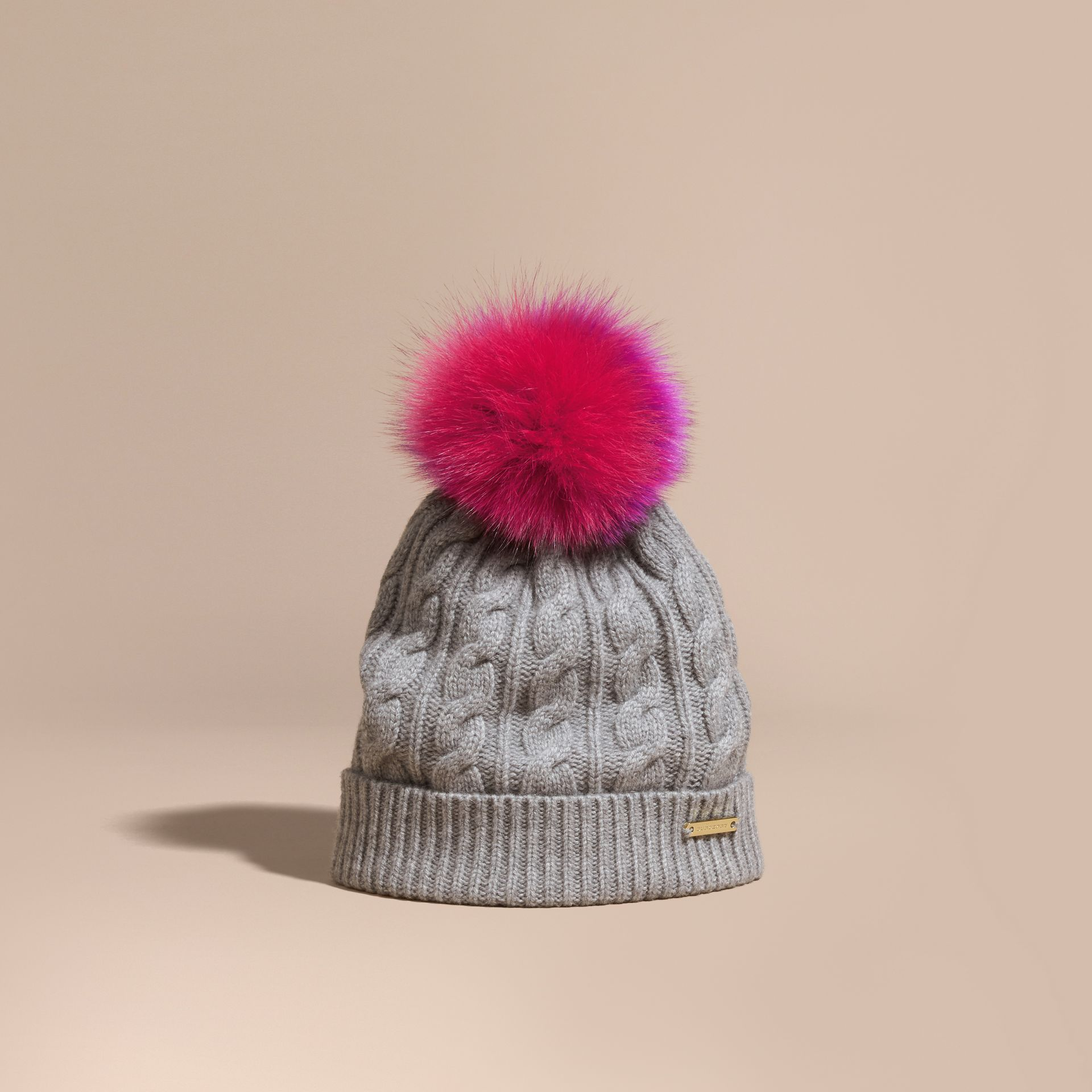 Grey melange Wool Cashmere Beanie with Fur Pom-Pom Grey Melange - gallery image 1