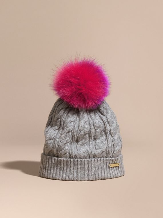 Wool Cashmere Beanie with Fur Pom-Pom Grey Melange