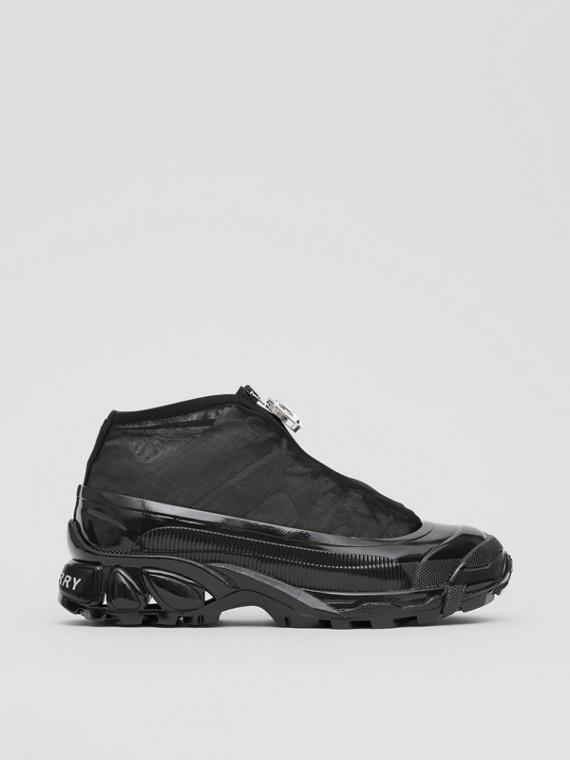 Zapatillas deportivas Arthur en nailon y ante con detalle en malla (Negro/blanco)