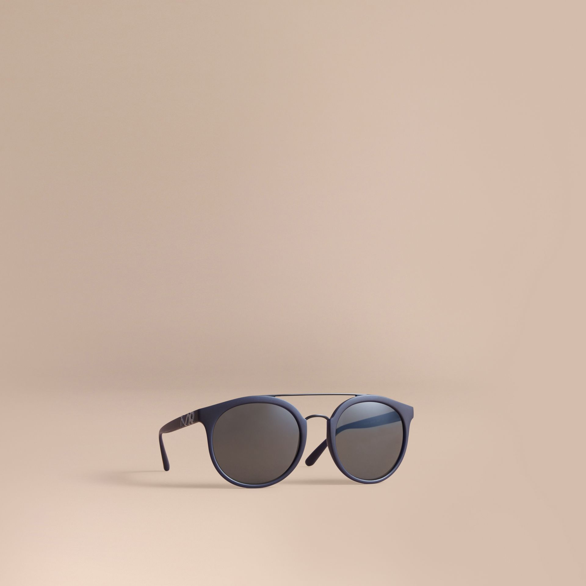 Top Bar Square Frame Sunglasses in Navy - Men | Burberry United Kingdom - gallery image 0
