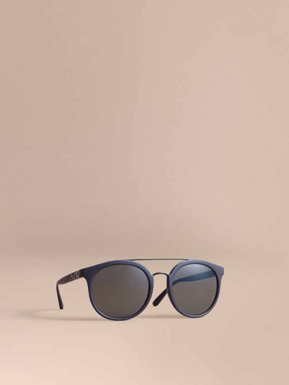 Top Bar Square Frame Sunglasses in Navy
